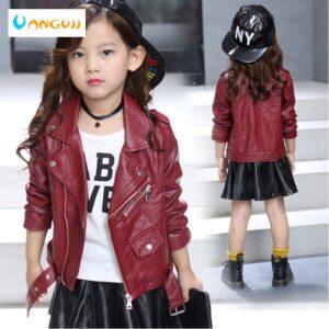 children's pu jacket Girls motorcycle jacket kid outwear solid color Zipper belt Faux Leather spring Autumn fashion pu jacket