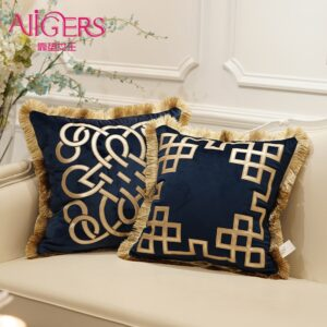 Avigers Luxury Embroidered Cushion Covers Velvet Tassels Pillow Case Home Decorative European Sofa Car Throw Pillows Blue Brown