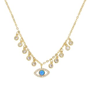 Genuine yellow gold color Necklace Turkey Round Evil Eye Necklaces AAA Zirconia For Woman Chain Jewelry 35+10cm chain