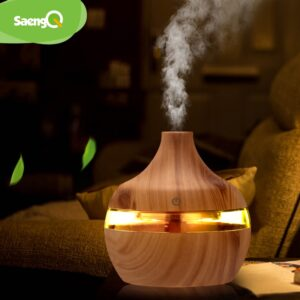 saengQ Electric Humidifier Essential Aroma Oil Diffuser Ultrasonic Wood Grain Air Humidifier USB Mini Mist Maker LED Light For