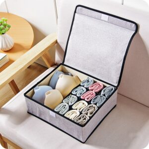 Collapsible underwear sock storage box cotton linen design 3 colors Closet Organizers Boxes For Underwear Scarfs Socks Bra-66730