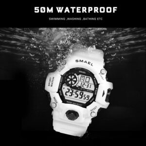 Watches Men Digital Watch White SMAEL Sport Watch 50M Waterproof Auto Date relogio masculino Digital Military Watches Mens Sport