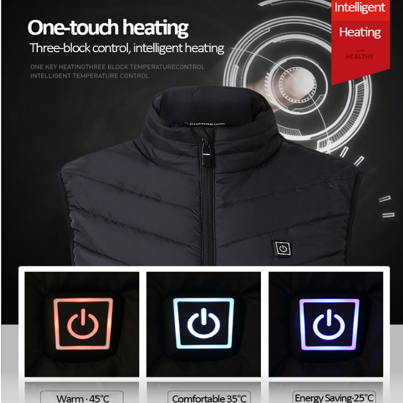 Warm Men Women Winter USB Infrared Heating Vest Flexible Electric Thermal Waistcoat Fish Hiking Euro Size S-4XL Outdoor Jackets