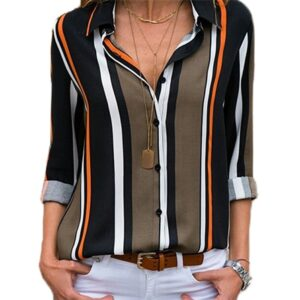 Aachoae Blouses Women 2020 Long Sleeve Striped Shirt Turn Down Collar Lady Office Shirt Autumn Blouse Top Blusas Mujer Plus Size