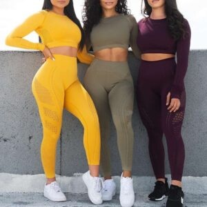 Women Yoga Set Gym Seamless 2 Piece Suit High Waist Pants And Shirts Sport Fitness Ultra Strech Sports US size