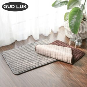 Coral Fleece DoubleFace Bathmat Plain colour striped bathroommat Positive and negative dual use rug Soft and skin friendly