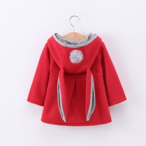 Winter autumn baby girls coat Long sleeve 3D Rabbit ears fashion casual hoodies kids clothes clothing children Outerwear