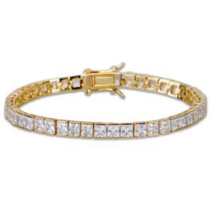 4mm Width Square Tennis Bracelet Zirconia Hiphop Jewelry 1 Row Bling CZ Men/Women Fashion Charm Gold Silver Color Bracelets Gift