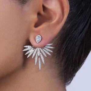 GODKI Luxury Trendy Lotus Flower Full Mirco Paved Crystal Zircon Naija Wedding Drop Earring Fashion Jewelry G289