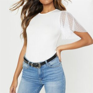 Aachoae Women Summer Lace Patchwork T Shirt Ruffle Short Sleeve T-shirt Tunic Casual Tops For Women O-neck White Mesh Tops Tees