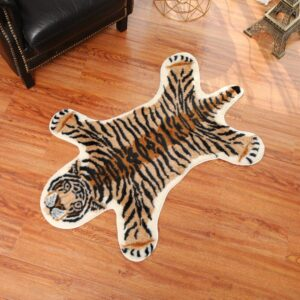 tiger printed Rug Cow Leopard Tiger Printed Cowhide faux skin leather NonSlip Antiskid Mat 94x100CM Animal print Carpet