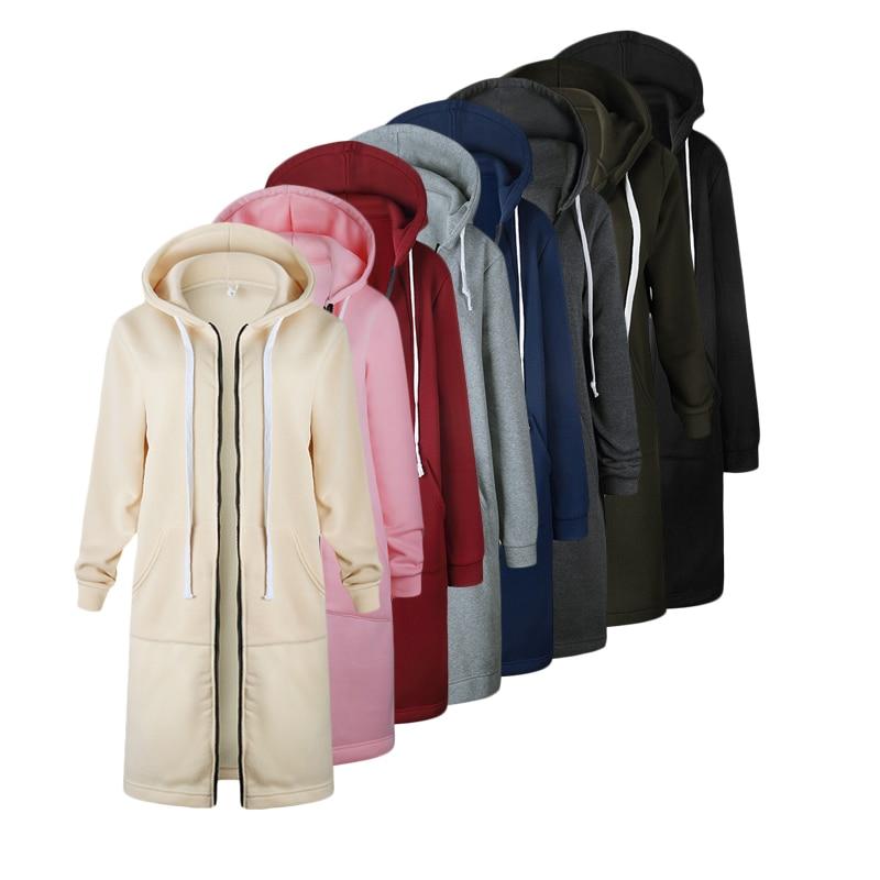 Women Long Coat Zipper Hooded Jacket 2019 Autumn Winter Casual Loose Female Coat Hoodies Sweatshirt Hoody Jackts Plus Size 5XL