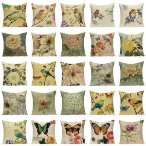 Plant Farmhouse Decor Cushion Vintage Pillow Decorative Pillows Case Dropship Cushion Cover Bird Flowers Cushions Home Decor