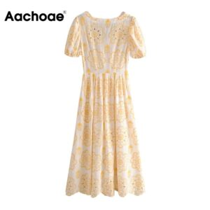 Aachoae Floral Embroidery Vintage Dress Women Puff Short Sleeve Elegant Pleated Dresses Lady V Neck Hollow Out Chic Long Dress
