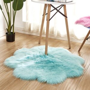1pc Antiskid Soft Faux Fur Wool Carpet Indoor Sheepskin Rug Modern Carpet Mat Blue White Pink Gray Living Room 30x30cm