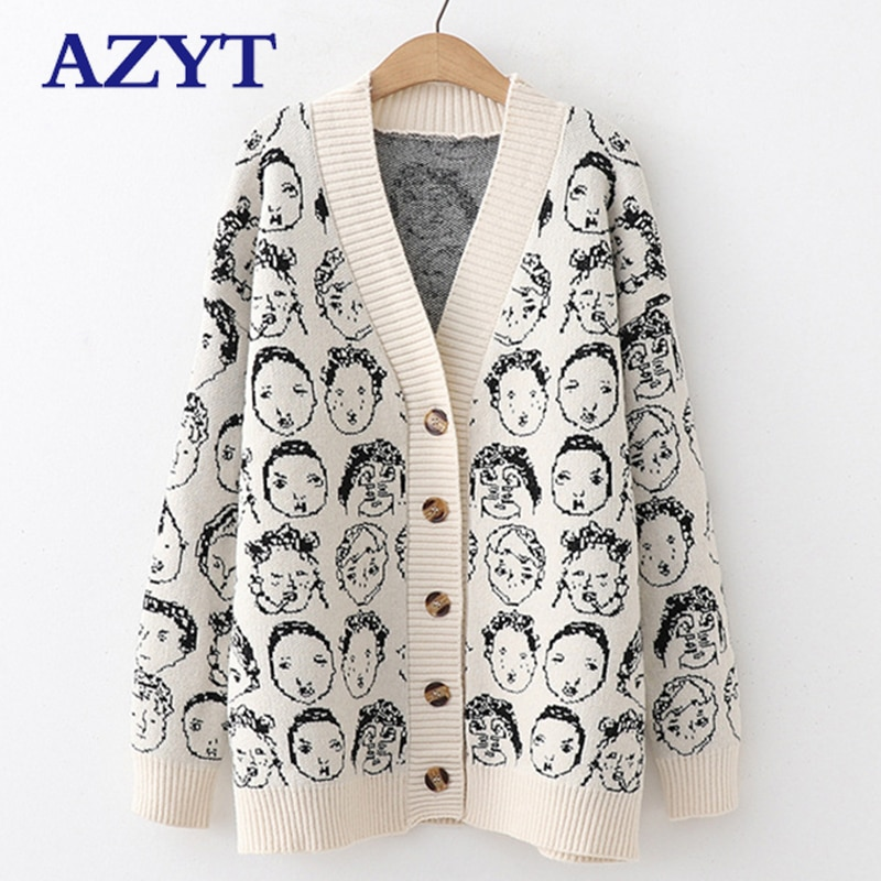 AZYT Autumn Winter New Comic V neck Cardigan Female Jacket 2020 Knitwear Sweater Coat Casual Knit Jacket Sweater For Women