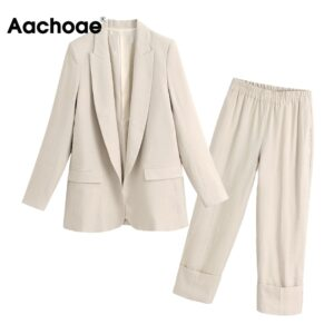 Aachoae Solid Two Piece Office Wear Suit Blazer Set Women Long Sleeve Suit Jacket Coat With High Waist Wige Leg Cuff Trousers