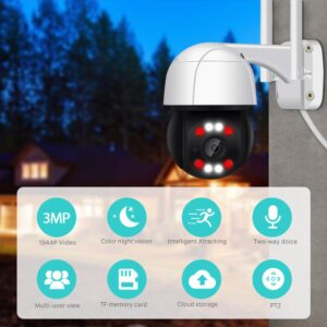 BESDER 3MP PTZ WiFi Outdoor 4X Digital Zoom Speed Dome Mini IP Camera Security Camera 2MP AI Human Detection DIY Alarm VoiceCCTV