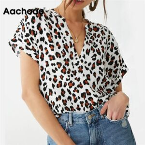 Aachoae Blouse Summer Women Batwing Short Sleeve Blouse Leopard Print Casual Loose Tops Tunic Plus Size Chemisier Femme Blusas