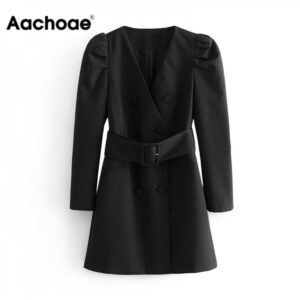 Aachoae Women Puff Long Sleeve Black Mini Dress Autumn V Neck Bandage High Street Lady Dresses A Line Chic Fashion Ropa Mujer