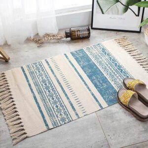 Retro Bohemian Carpet Hand Woven Cotton Linen Carpet Rug Bedside Rug Geometric Floor Mat Living Room Bedroom Carpet Home Decor