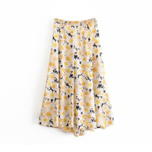 Aachoae Women Chic Floral Print Skirts Boho Side Split Long Midi Skirt High Waist Buttons Vintage Skirt Faldas Mujer Moda 2020