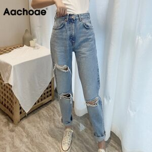 Aachoae Women Full Length Chic Holes Jeans Retro Ripped Pencil Pants Lady Zipper Fly Light Blue Color Trousers Femme Pantalon