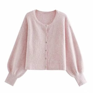 Aachoae Casual Lantern Long Sleeve Knitted Tops Lady O Neck Pink Color Cropped Sweater Women Elegant Cardigan Sweater Pull Femme