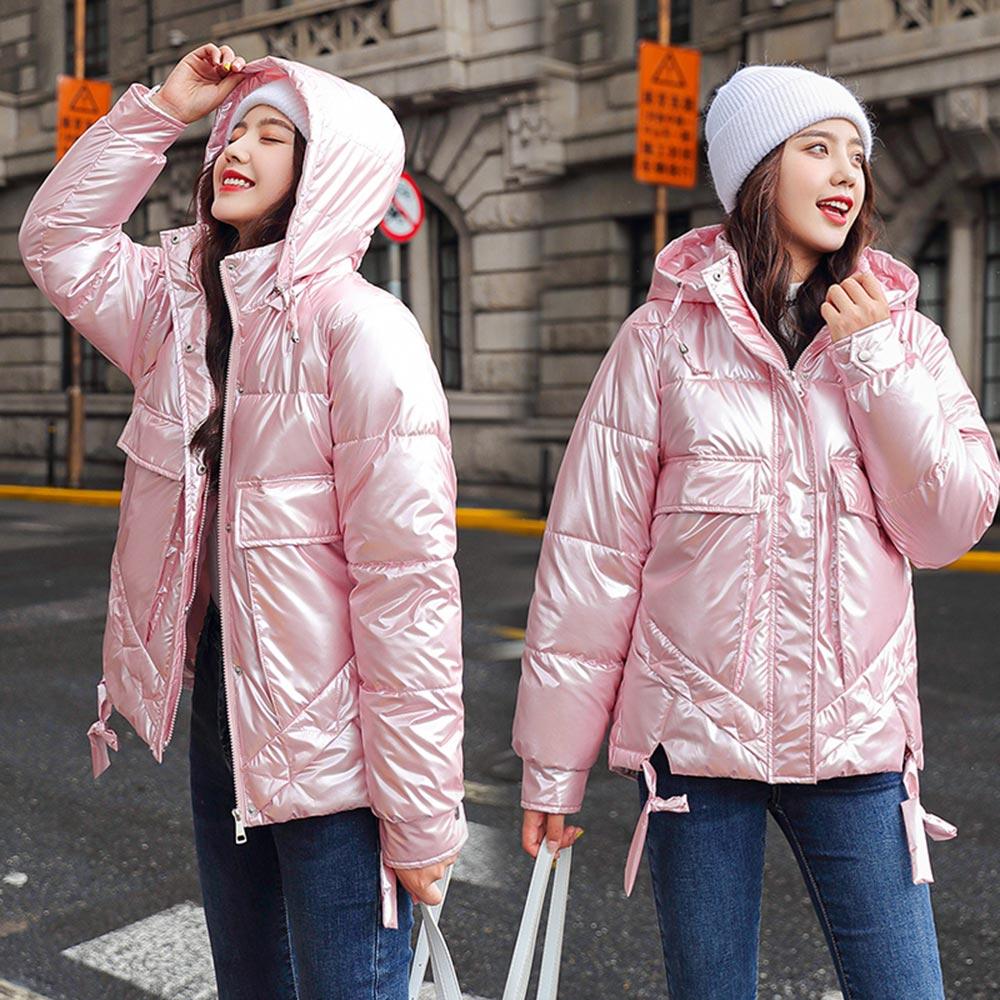 Vielleicht 2020 New Arrival Women Winter Jacket Shining Fabric Cotton Padded Warm Thicken Short Coat Hooded Fashion Parka Female