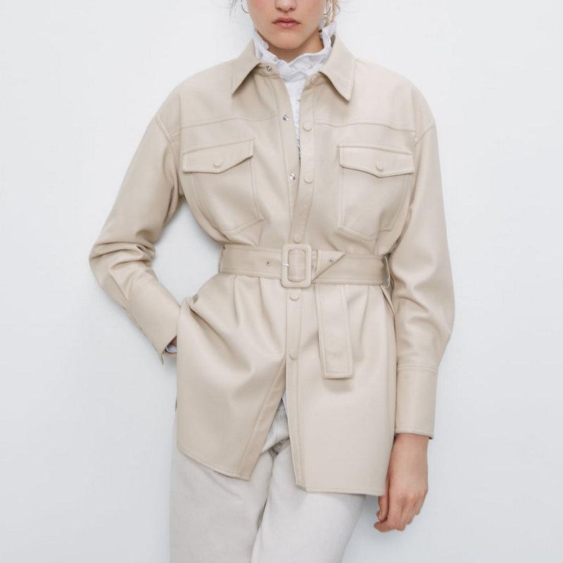 2020 New Fashion Women Autumn Winter Fake Faux Leather Long Jackets Lady Elegant Tie Belt Waist Pockets Buttons PU Street Coats