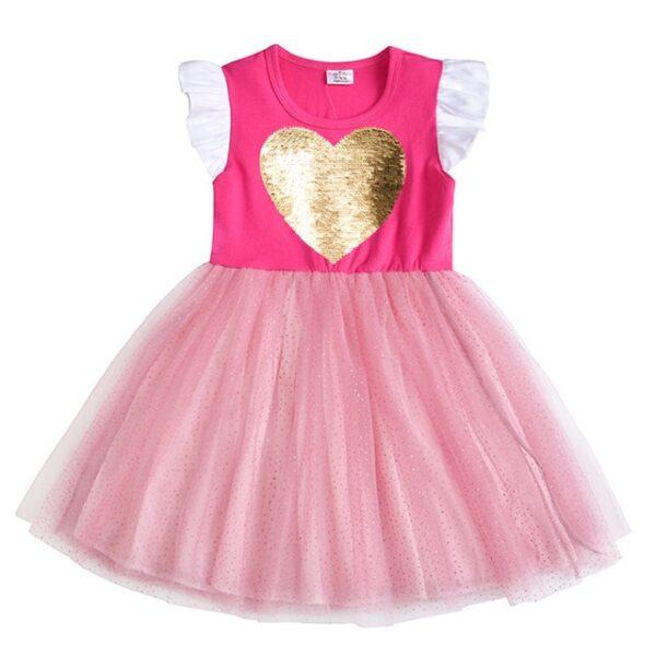 VIKITA Girls Unicorn Tutu Dress Kids Sequined Princess Vestido Girls Birthday Party Dress Children Summer Dresses Kids Clothes