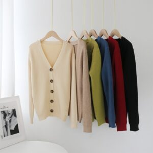 Aachoae Women Elegant V Neck Solid Cardigan 2020 Autumn Winter Casual Knitted Sweater Female Long Sleeve Single Breasted Coat