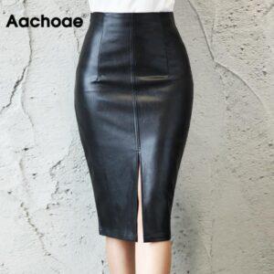 Aachoae Black PU Leather Skirt Women 2020 New Midi Sexy High Waist Bodycon Split Skirt Office Pencil Skirt Knee Length Plus Size