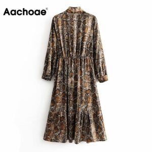 Aachoae Streetwear Snake Print Dress Women Bow Tie Collar Chic Shirt Dress Long Sleeve Pleated Midi Dress Autumn Spring Vestido