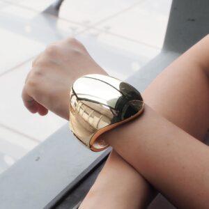 MANILAI Punk Shiny Surface Alloy Cuff Bangles Bracelets For Women Fashion Jewelry Statement Big Alloy Bangle Wholesale