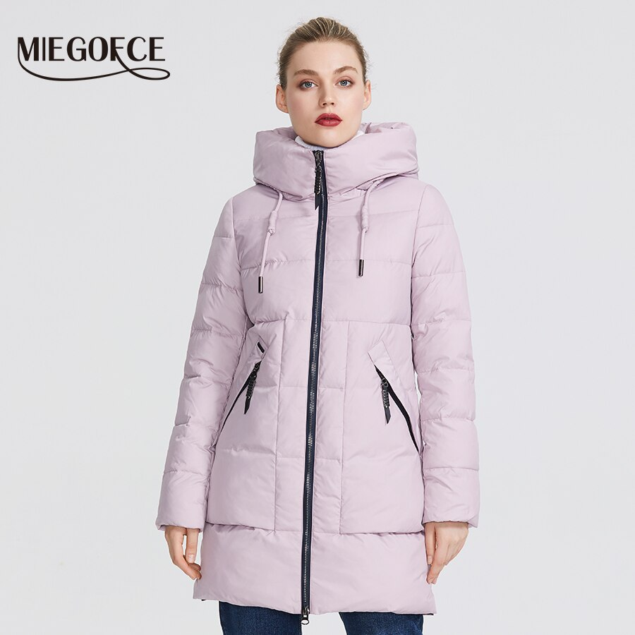 MIEGOFCE 2020 Winter Women Collection Women's Warm Jacket Made With Real Bio Winter Jackets Windproof Stand-Up Collar With Hood