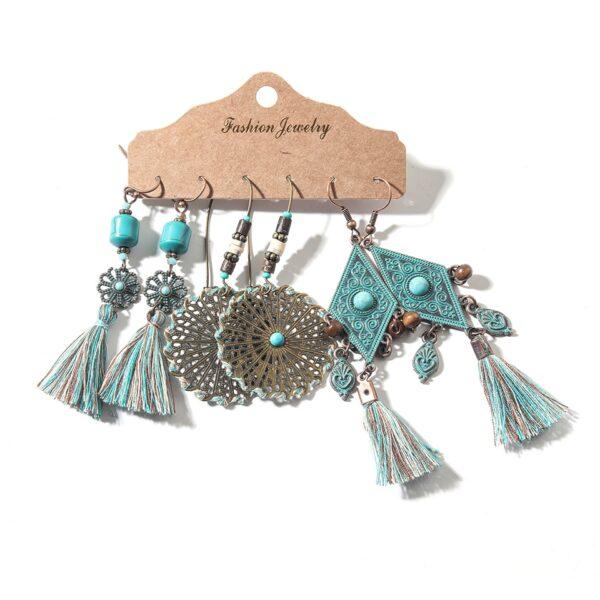 Vintage Elegant Natural Wood Beads Drop Earrings Set For Women Boho Round Hoop Long Tassel Hanging Earring 2020Wholesale Jewelry