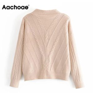Aachoae Solid Casual Knitted Cardigan Women V Neck Twist Sweater 2020 Autumn Winter Batwing Long Sleeve Top Chic Cardigan Coat