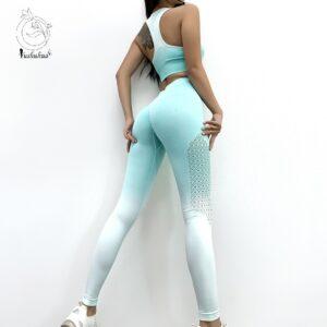Ombre Seamless 2 Piece Set Women Suit Gym Workout Clothes Sport Bra Fitness Crop Top And Scrunch Butt Leggings Yoga Set