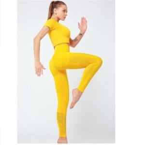 2 Pcs Yoga Set Sports Tops Fitness Leggings Women Gym Set Clothes Seamless Sportswear Yoga Crop top Sport Leggings