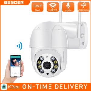 BESDER WiFi 1080P Security Camera Outdoor PTZ Camera Human Detect Color Night Vision Audio Talk CCTV Surveillance P2P IP Camera