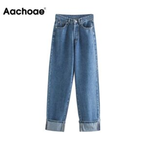 Aachoae 2020 New High Waist Jeans Denim Women Jeans Casual Loose Blue Straight Ladies Wide Leg Trousers Buttons Mom Jeans