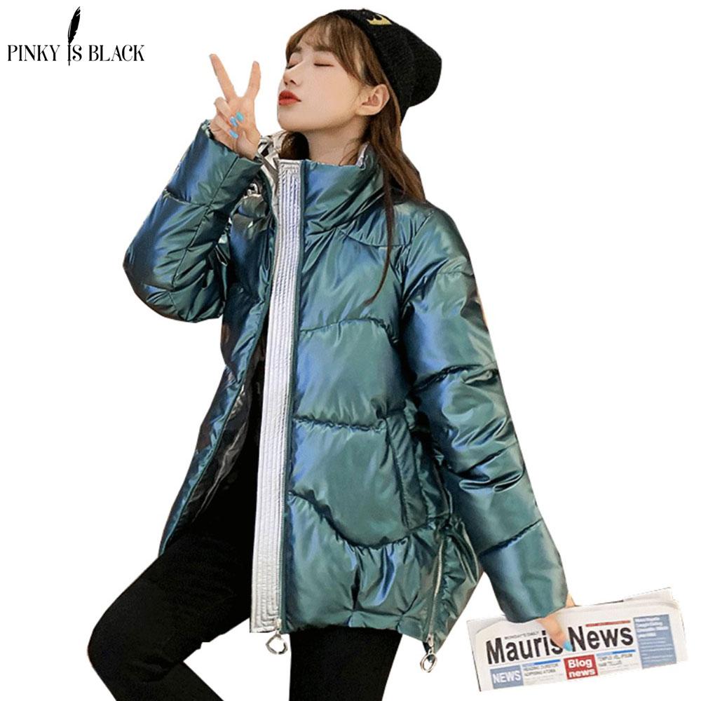 PinkyIsBlack 2020 Autumn Women's Winter Coats Fashion Glossy Stand Collar Parkas Winter Jacket Women Shinny Padded Cotton Coat