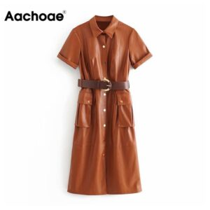 Aachoae Women Streetwear PU Leather Dress Pleated Short Sleeve Sashes Lady Knee Length Dresses Turn Down Collar Pockets Vestido