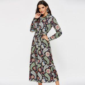 Aachoae Women Casual Printed Shirt Dress 2020 Vintage Long Sleeve Bandage Dresses Female Office Turn Down Collar Dress Vestidos