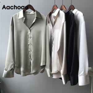 Aachoae Solid Elegant Blouse Women Turn Down Collar Casual Office Shirt Female Long Sleeve Korean Ladies Tops Blusas Mujer