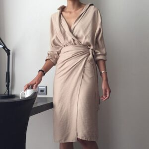 Aachoae Chic V Neck Wrap Dress Women Solid Long Sleeve Elegant Office Ladies Dresses 2020 Vintage Midi Dress Vestidos Mujer