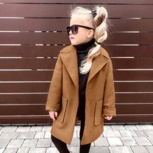 Children Toddler Baby Girls Long Sleeve Winter Solid Windproof Coat Infant Kids Girl Warm Pocket Fashion Outwear Autumn Jacket