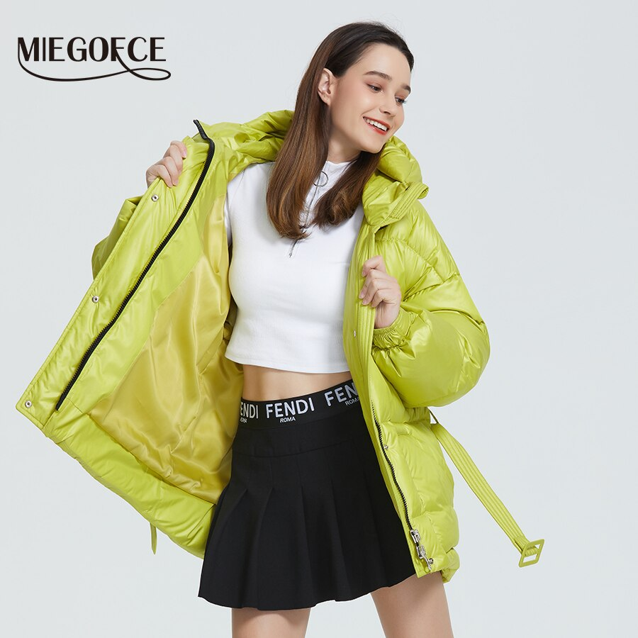 MIEGOFCE 2020 New Winter Women's Jacket High Quality Bright Colors Insulated Puffy Coat collar hooded Parka Loose Cut With Belt