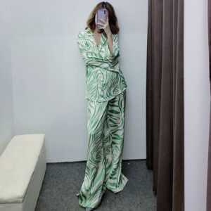 Aachoae Fashion Zebra Striped Print Sleepwear Set Women 2 Piece Pants Set Pijamas Casual Tops And Wide Leg Pants Female Homewear